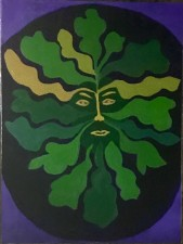 "Green Man 6  24x18""  acrylic (2016)"