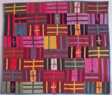 "Harlem Stripes 26 x 31"" Hand dyed fabric layered, stitched (2010)"