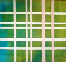 "Intersection  33 x 31""  dye and acrylic on cotton canvas  (2012)"