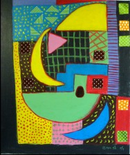 "Painting of Small Geometry 2  24 x 20"" acrylic on board, fabric applied (2011)"