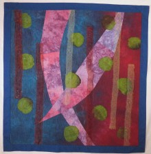 "Sea Hunt   32 x 31"" hand-dyed fabric, layered, stitched (2012)"