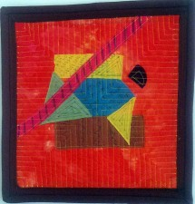 "Small Geometry 1  12 x 12"" hand-dyed fabric, layered, stitched, sharpie (2011)"