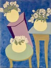 "Three Views Of a Yellow Vase, acrylic, 24x18"" (2016)"