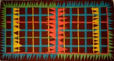 "Toothed Plaid  22 x 40"" Stitched cotton fabric, acrylic paint  (2011)"