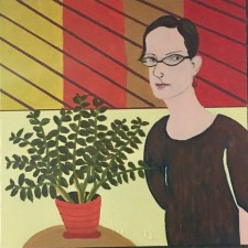"Elizabeth with Plant, acrylic, 24x24"" (2017)"
