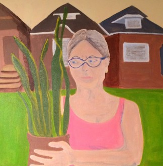 "Woman with Plant (after Grant Wood) 20 x 20"" (2014)"
